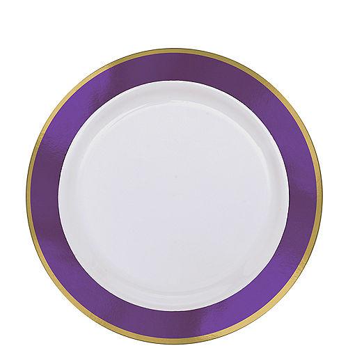 Gold & Purple Border Premium Plastic Lunch Plates 10ct Image #1