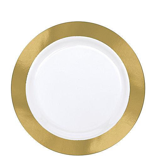Gold Border Premium Plastic Lunch Plates 10ct Image #1