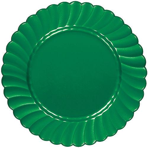 Festive Green Premium Plastic Scalloped Dinner Plates 12ct Image #1