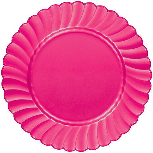 Bright Pink Premium Plastic Scalloped Dinner Plates 12ct Image #1