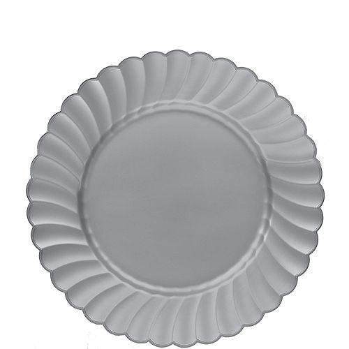Silver Premium Plastic Scalloped Lunch Plates 12ct Image #1