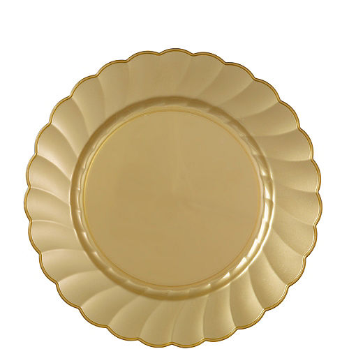 Gold Premium Plastic Scalloped Lunch Plates 12ct Image #1