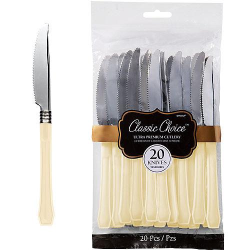 Classic Silver & Vanilla Premium Plastic Knives 20ct Image #1