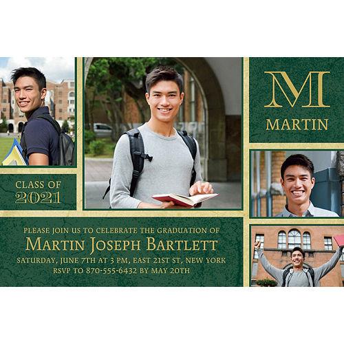 Custom Gold & Green Textured Graduation Collage Photo Invitation  Image #1