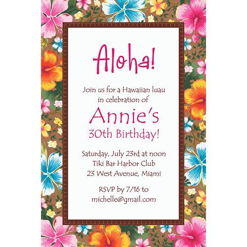 Custom Hawaiian Hibiscus Invitation Image #1