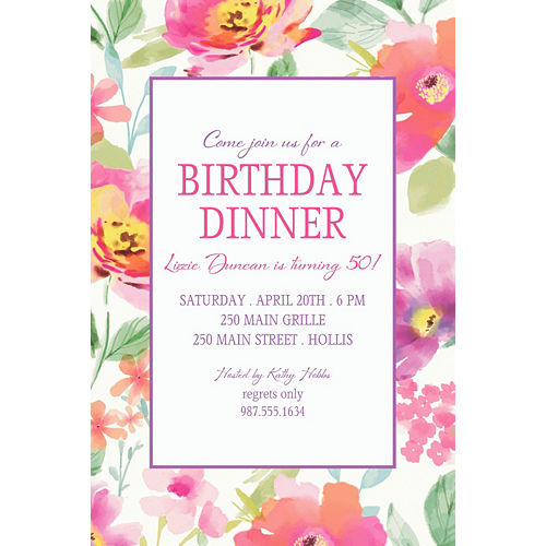 Custom Watercolor Poppy Invitation Image #1