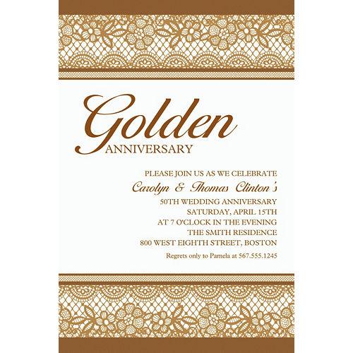 Custom Delicate Gold Lace Invitation Image #1