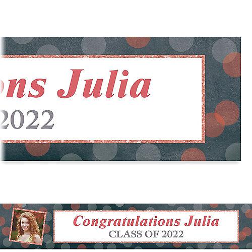 Custom Glitter Salmon Frames & Dots Graduation Photo Banner  Image #1