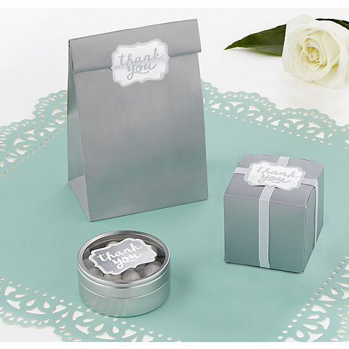 Silver Scroll Thank You Sticker Seals 50ct Image #1