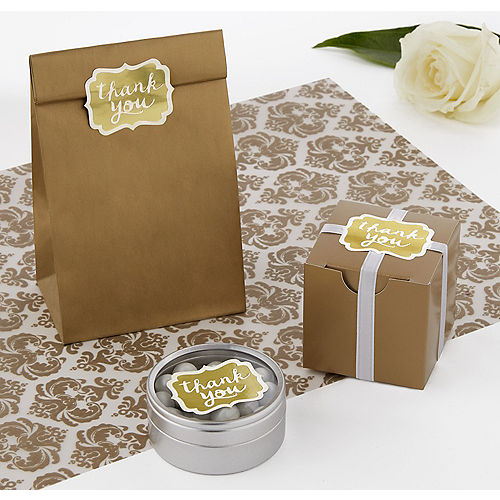 Gold Thank You Sticker 50ct Image #1