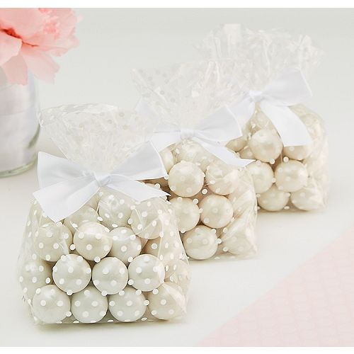 White Polka Dot Treat Bags with Bows 12ct Image #1