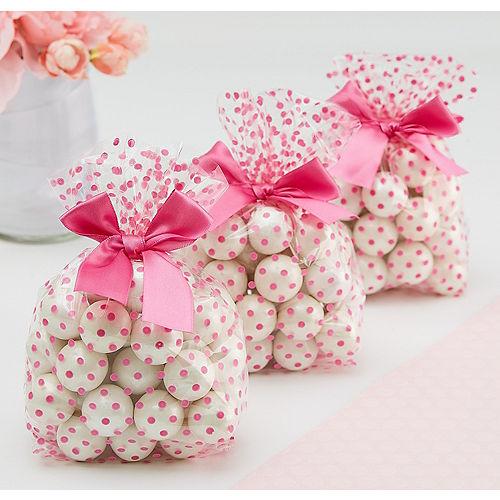 Bright Pink Polka Dot Treat Bags with Bows 12ct Image #1