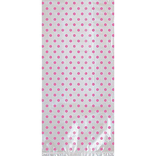 Bright Pink Polka Dot Treat Bags with Bows 12ct Image #2