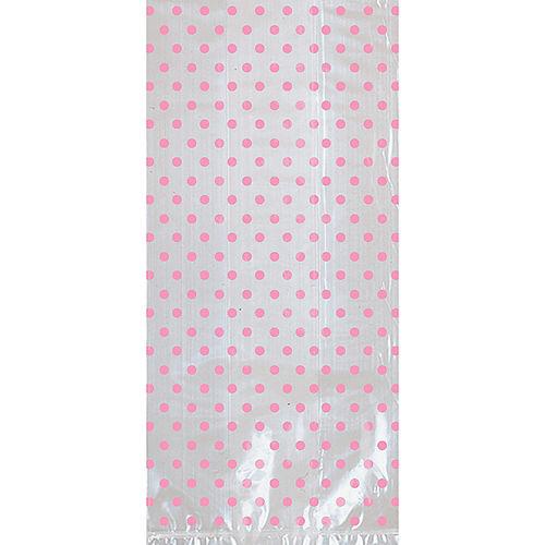 Pink Polka Dot Treat Bags with Bows 12ct Image #2