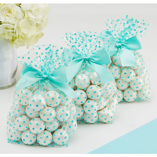 Robin's Egg Blue Polka Dot Treat Bags with Bows 12ct Image #1