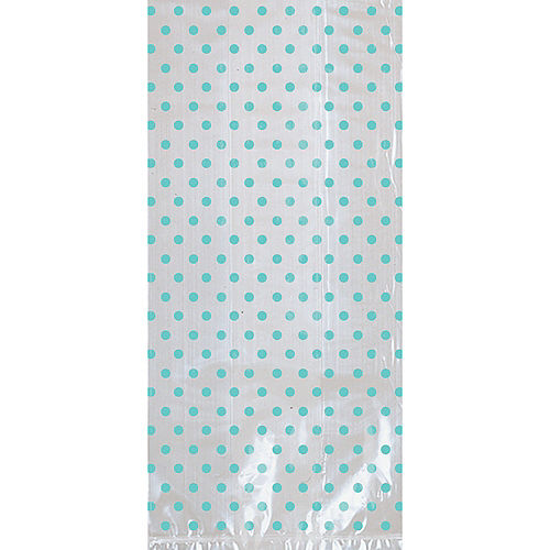 Robin's Egg Blue Polka Dot Treat Bags with Bows 12ct Image #2