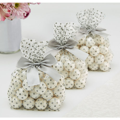 Silver Polka Dot Treat Bags with Bows 12ct Image #1