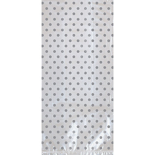 Silver Polka Dot Treat Bags with Bows 12ct Image #2