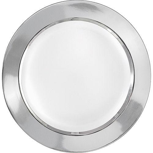 Silver Border Premium Plastic Dinner Plates 10ct Image #1