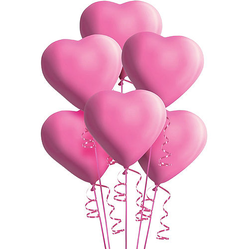 Pink Heart Balloons 6ct, 12in Image #1