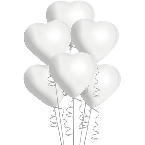 White Heart Balloons 6ct, 12in Image #1
