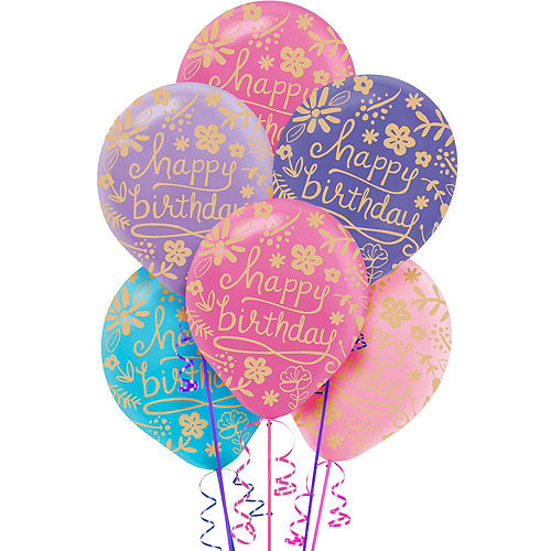 Floral Birthday Balloons 20ct, 12in Image #1