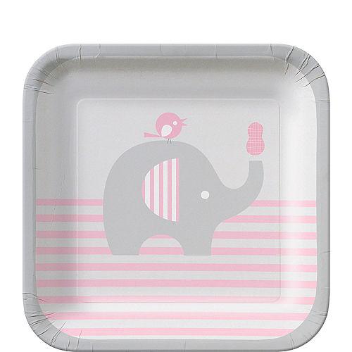 Pink Baby Elephant Dessert Plates 8ct Image #1