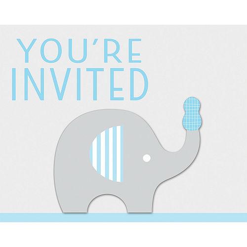 Blue Baby Elephant Invitations 8ct Image #1