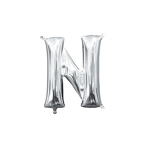 13in Air-Filled Silver Letter Balloon (N) Image #1