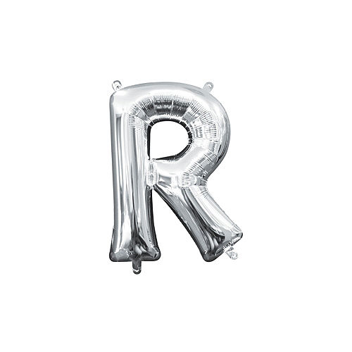 13in Air-Filled Silver Letter Balloon (R) Image #1