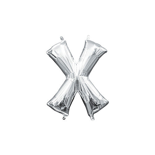 13in Air-Filled Silver Letter Balloon (X) Image #1