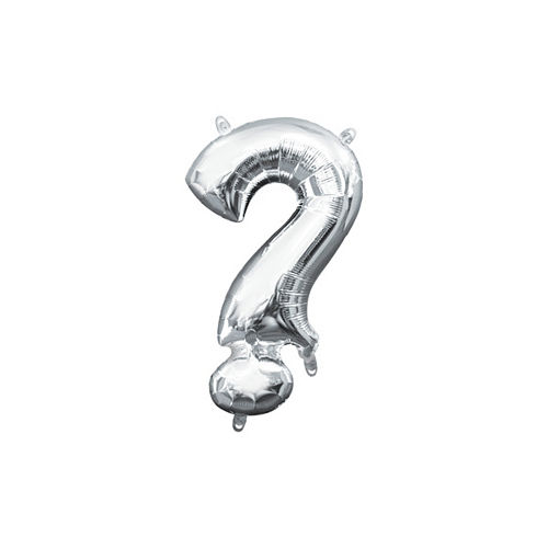 Air-Filled Silver Question Mark Balloon, 16in Image #1