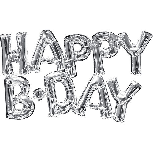Air-Filled Silver Happy B-Day Letter Balloon Banners 2ct, 10in Image #1