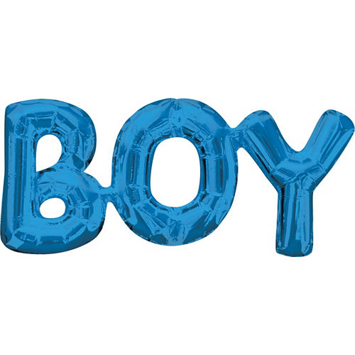 Air-Filled Blue Boy Letter Balloon Banner, 9in Image #1