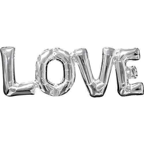 Air-Filled Silver Love Letter Balloon Banner, 9in Image #1