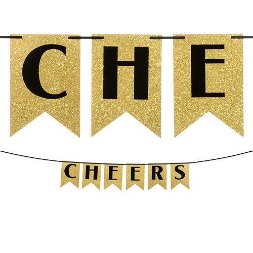 Glitter Cheers to a New Year Pennant Banner Image #1