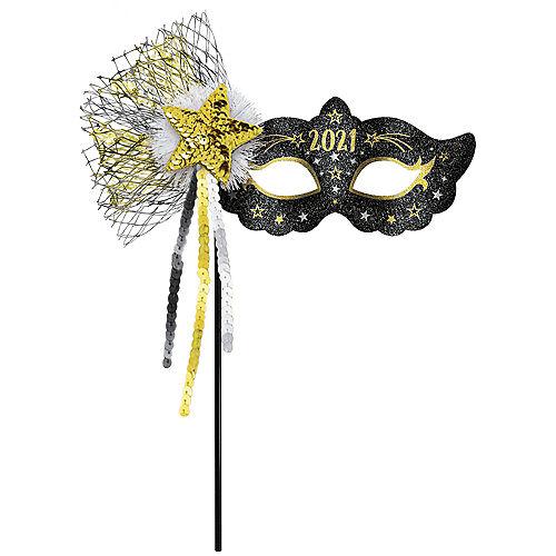 Glitter Black, Silver & Gold 2021 Masquerade Mask on a Stick Image #1