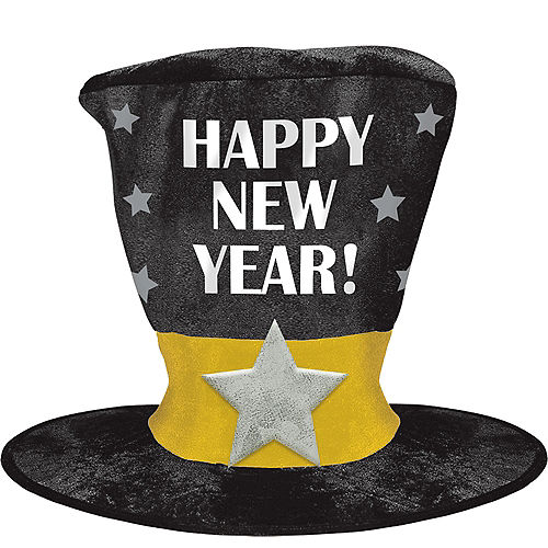 Black, Gold & Silver Giant New Year's Hat Image #1