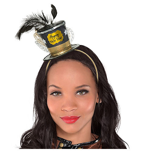 Black, Gold & Silver Mini New Year's Top Hat Headband Image #1