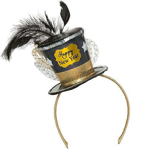Black, Gold & Silver Mini New Year's Top Hat Headband Image #2