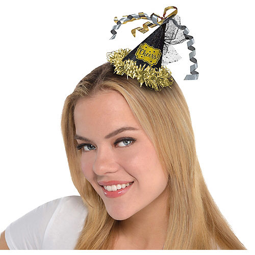 Black, Gold & Silver Party Hat Hair Clip Image #1