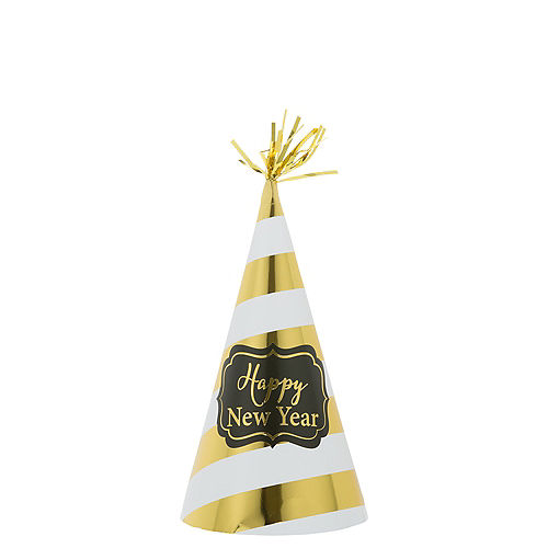 Gold Striped New Year's Party Hat Image #1