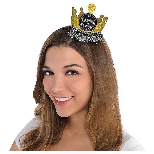 Black, Gold & Silver Mini Glitter Crown Image #1