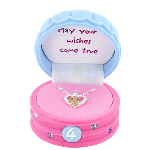 4th Birthday Heart Pendant Necklace with Case Image #2
