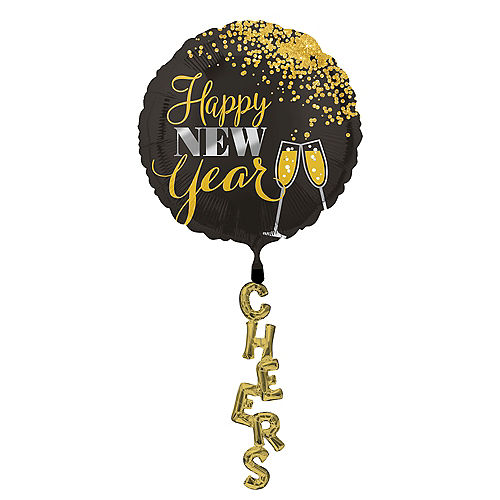 Black, Gold & Silver New Year's Balloon with Tail - Giant, 89in Image #1