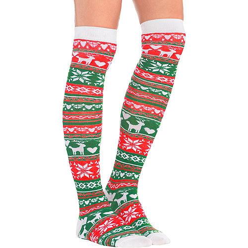 Fair Isle Christmas Over-the-Knee Socks Image #1