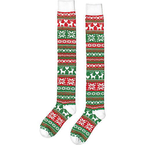 Fair Isle Christmas Over-the-Knee Socks Image #2