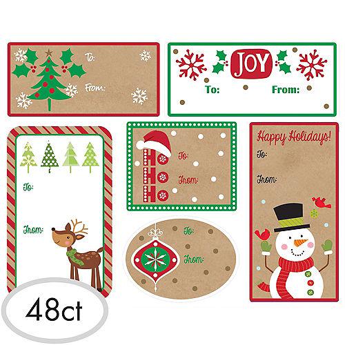 Christmas Adhesive Gift Tags 48ct Image #1