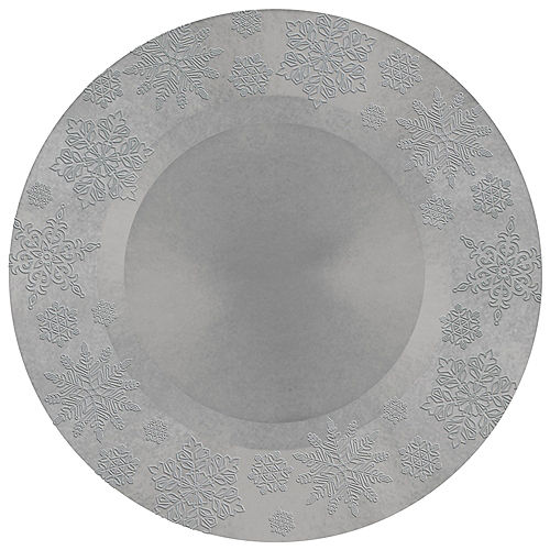 Silver Embossed Snowflake Round Plastic Charger Image #1