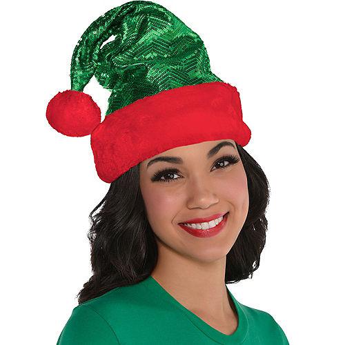 Sequin Green Santa Hat Image #2
